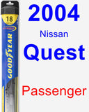 Passenger Wiper Blade for 2004 Nissan Quest - Hybrid