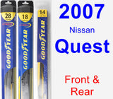 Front & Rear Wiper Blade Pack for 2007 Nissan Quest - Hybrid