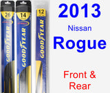 Front & Rear Wiper Blade Pack for 2013 Nissan Rogue - Hybrid