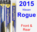 Front & Rear Wiper Blade Pack for 2015 Nissan Rogue - Hybrid