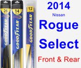 Front & Rear Wiper Blade Pack for 2014 Nissan Rogue Select - Hybrid