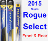 Front & Rear Wiper Blade Pack for 2015 Nissan Rogue Select - Hybrid