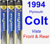 Front & Rear Wiper Blade Pack for 1994 Plymouth Colt - Hybrid