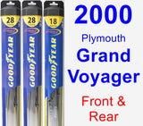 Front & Rear Wiper Blade Pack for 2000 Plymouth Grand Voyager - Hybrid