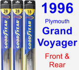 Front & Rear Wiper Blade Pack for 1996 Plymouth Grand Voyager - Hybrid