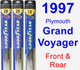 Front & Rear Wiper Blade Pack for 1997 Plymouth Grand Voyager - Hybrid