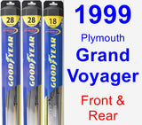 Front & Rear Wiper Blade Pack for 1999 Plymouth Grand Voyager - Hybrid