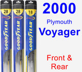 Front & Rear Wiper Blade Pack for 2000 Plymouth Voyager - Hybrid
