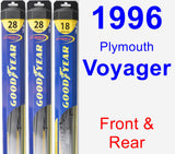 Front & Rear Wiper Blade Pack for 1996 Plymouth Voyager - Hybrid