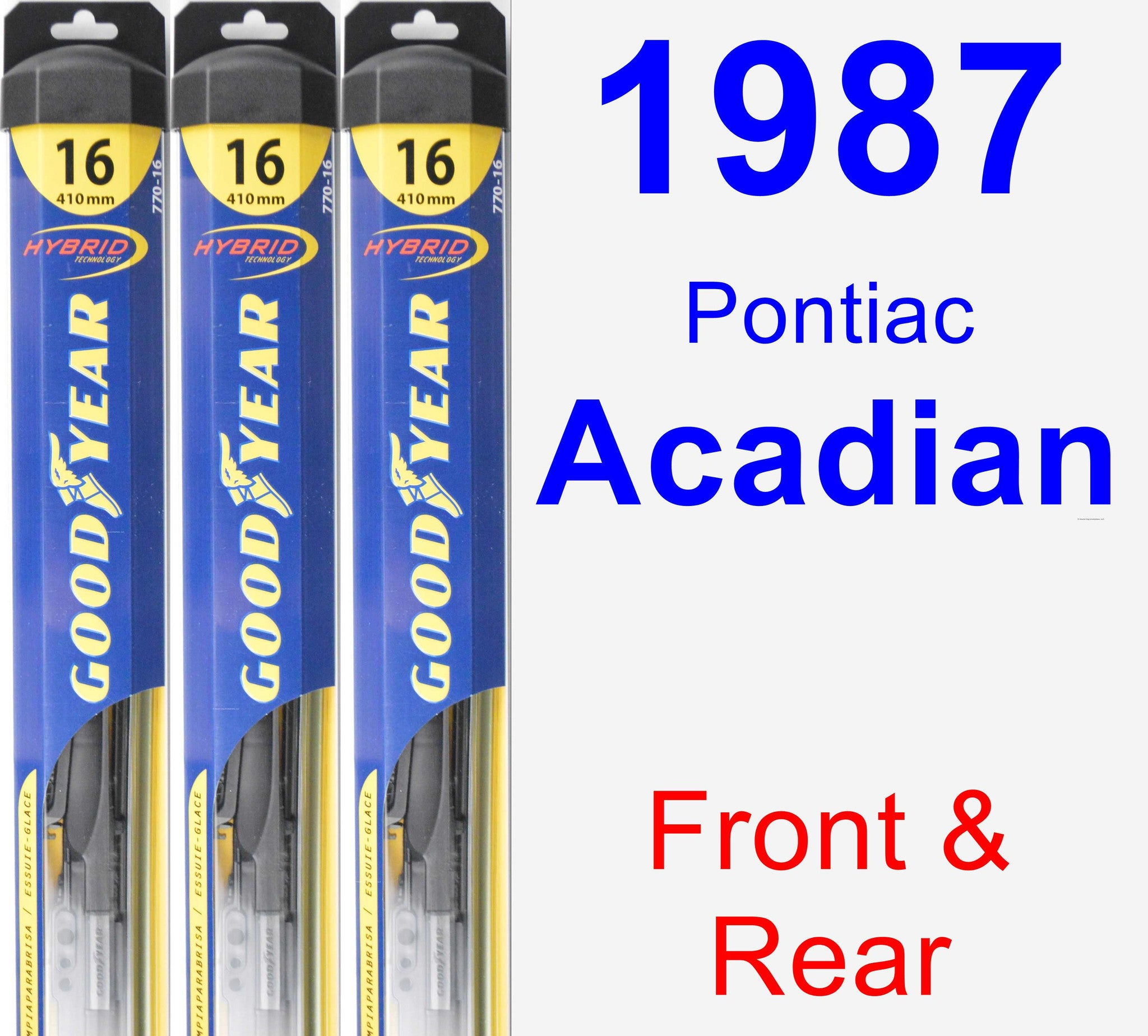 Front & Rear Wiper Blade Pack for 1987 Pontiac Acadian - Hybrid