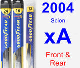 Front & Rear Wiper Blade Pack for 2004 Scion xA - Hybrid