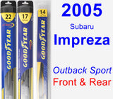 Front & Rear Wiper Blade Pack for 2005 Subaru Impreza - Hybrid