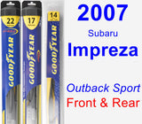 Front & Rear Wiper Blade Pack for 2007 Subaru Impreza - Hybrid