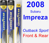Front & Rear Wiper Blade Pack for 2008 Subaru Impreza - Hybrid