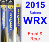 Front & Rear Wiper Blade Pack for 2015 Subaru WRX - Hybrid