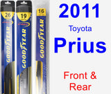 Front & Rear Wiper Blade Pack for 2011 Toyota Prius - Hybrid