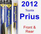 Front & Rear Wiper Blade Pack for 2012 Toyota Prius - Hybrid