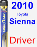 Driver Wiper Blade for 2010 Toyota Sienna - Hybrid