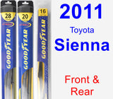 Front & Rear Wiper Blade Pack for 2011 Toyota Sienna - Hybrid