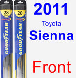 Front Wiper Blade Pack for 2011 Toyota Sienna - Hybrid