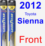 Front Wiper Blade Pack for 2012 Toyota Sienna - Hybrid