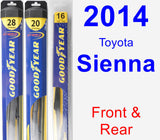 Front & Rear Wiper Blade Pack for 2014 Toyota Sienna - Hybrid