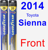 Front Wiper Blade Pack for 2014 Toyota Sienna - Hybrid