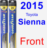 Front Wiper Blade Pack for 2015 Toyota Sienna - Hybrid