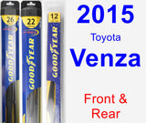 Front & Rear Wiper Blade Pack for 2015 Toyota Venza - Hybrid