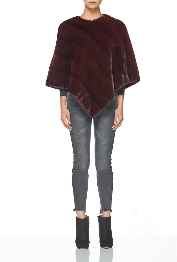 BLISS PONCHO IN MERLOT