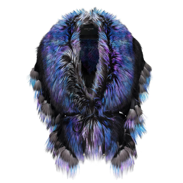 FRINGE COLLAR IN BLUE RAINBOW