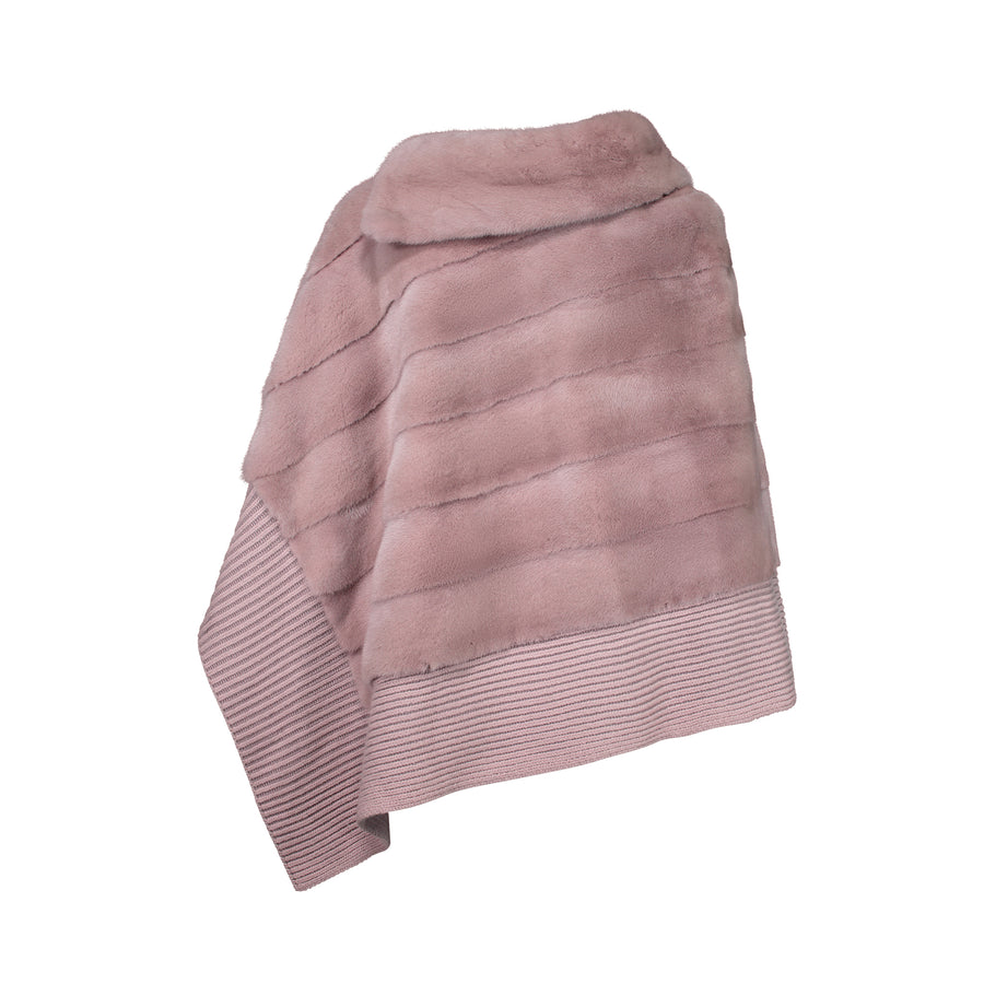 MARGHERITA PONCHO WITH CASHMERE SILK BOTTOM IN BLUSH