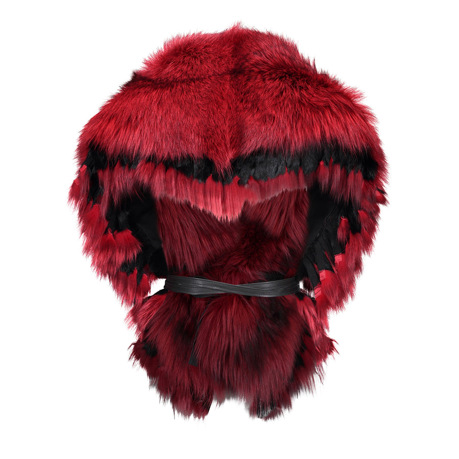 FRINGE COLLAR IN FIRE RED