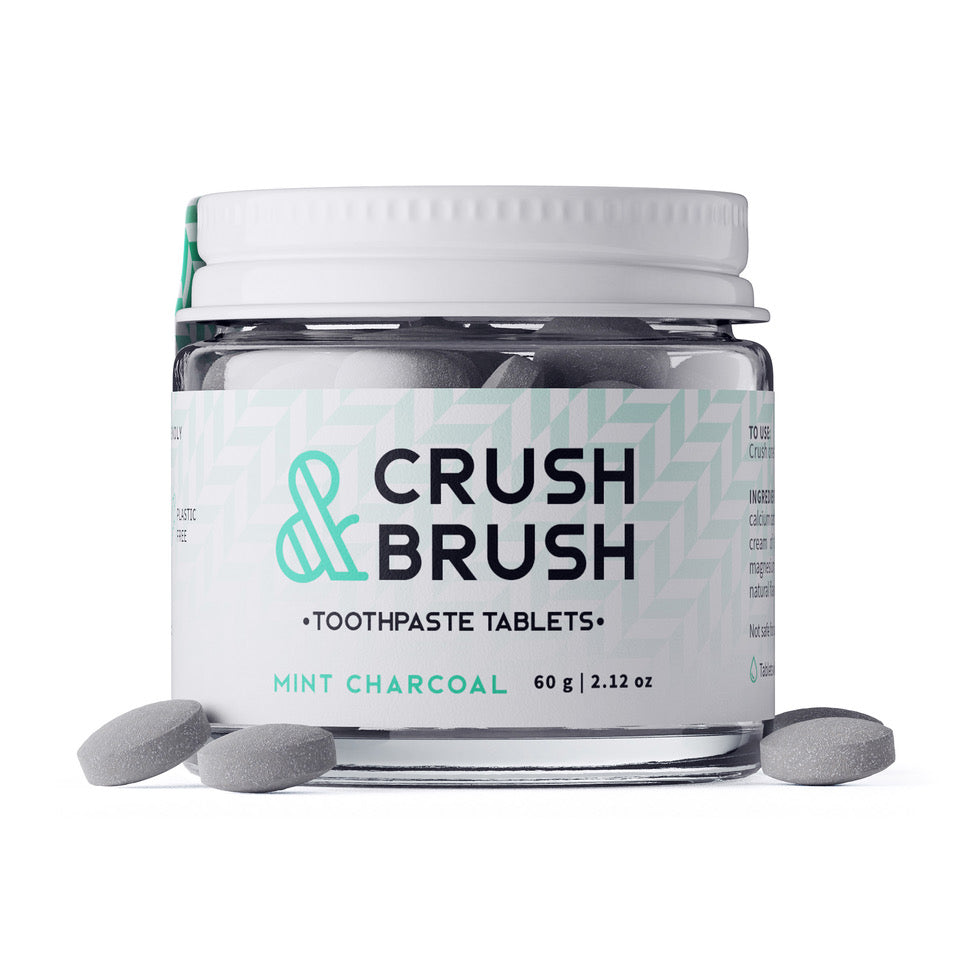 Crush & Brush MINT CHARCOAL GLASS JAR - 60g ~ 80 Toothpaste Tablets