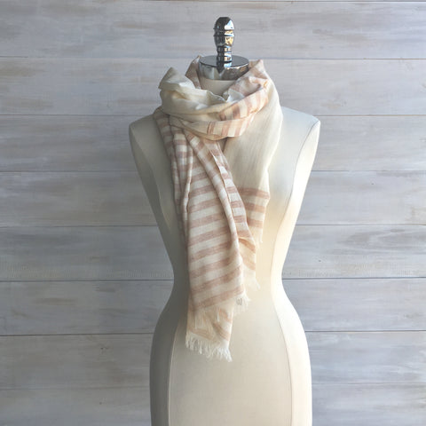 Half stripe scarf. Fair Trade. Rust/Cream