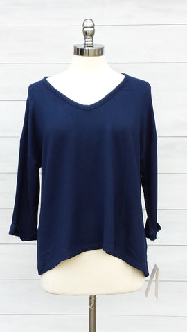 Soft v neck casual top. Press. Navy Blue