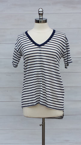 Striped Linen v neck tee. Nanavatee. Navy/Cream