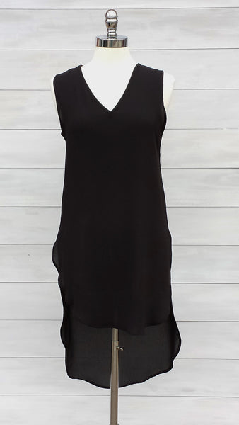 Elegant tunic length sleeveless top. Diabolika. Black