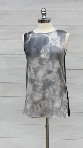 Cloud print sleeveless top. Mexx.Grey/Black