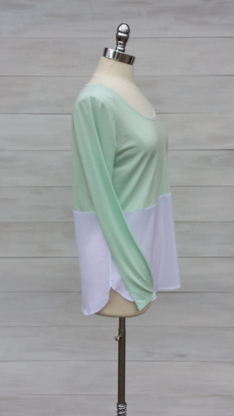 Arabis colour block long sleeved top. Sea foam/ White