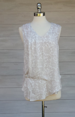 Sleeveless Blouse with tuck pleat detail. Woodcut Floral pattern. Gentle Fawn