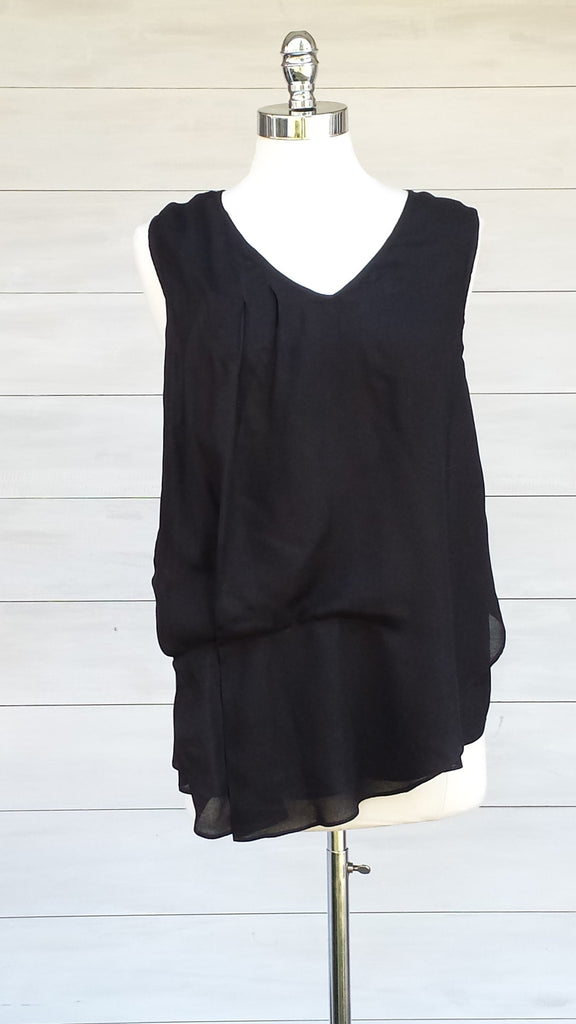 Sleeveless Blouse with tuck pleat detail. Black. Gentle Fawn