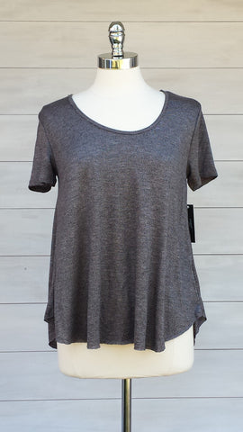 Cassis soft knit tee. Heather Gunmetal Gentle Fawn