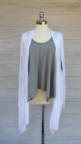 Monaco Draping Lightweight Cardigan. Gentle Fawn. White