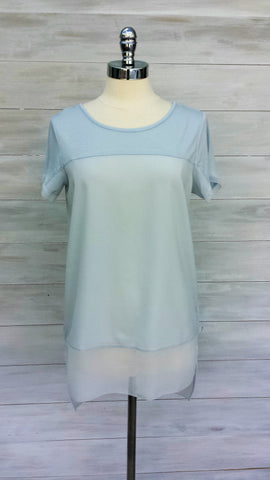 Long length short sleeved top with chiffon trim. Mexx. Grey Dawn