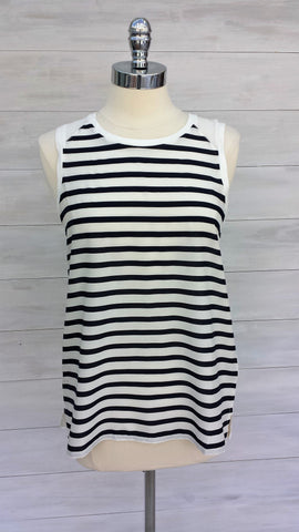 Stripey sleeveless top. Navy/white. Mexx