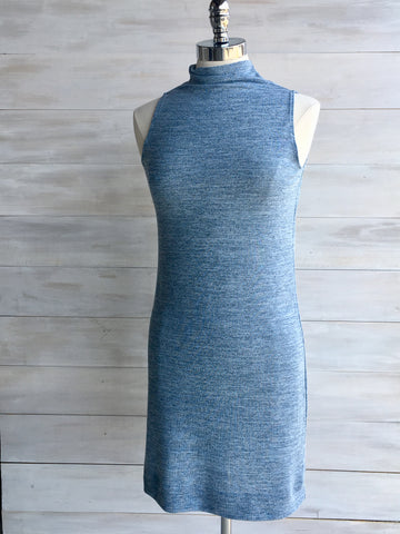 Funnel neck blue dress. Orb