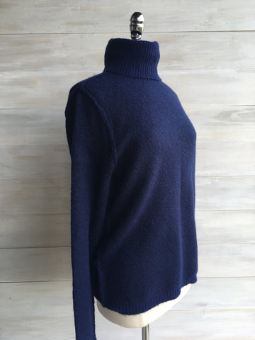 Cowl neck Sweater. Reversible. Navy. Orb