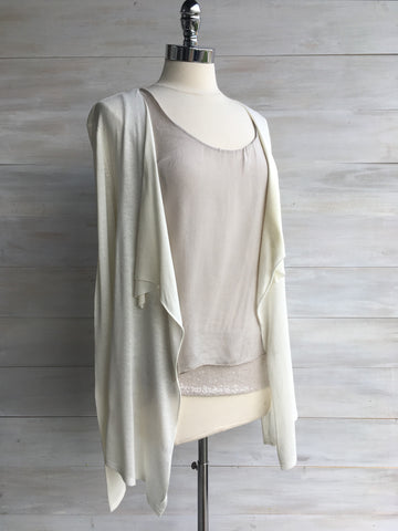 Drape front short cardigan. Mexx. Cream