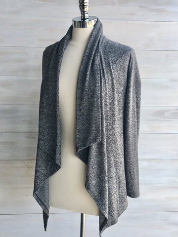 Supersoft waterfall cardigan. Grey mix. Nanavatee